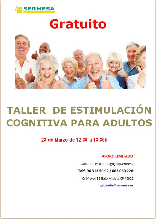 Taller Gratuito: Estimulación Cognitiva para Adultos - Sermesa ...